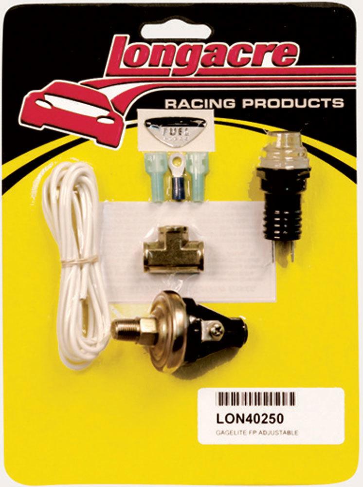Longacre 52-40250 Warning Light, Gagelites, Fuel Pressure, 2-7 psi, Adjustable, 1/8 in NPT Male, Light / Sender / Wiring, Clear, Kit