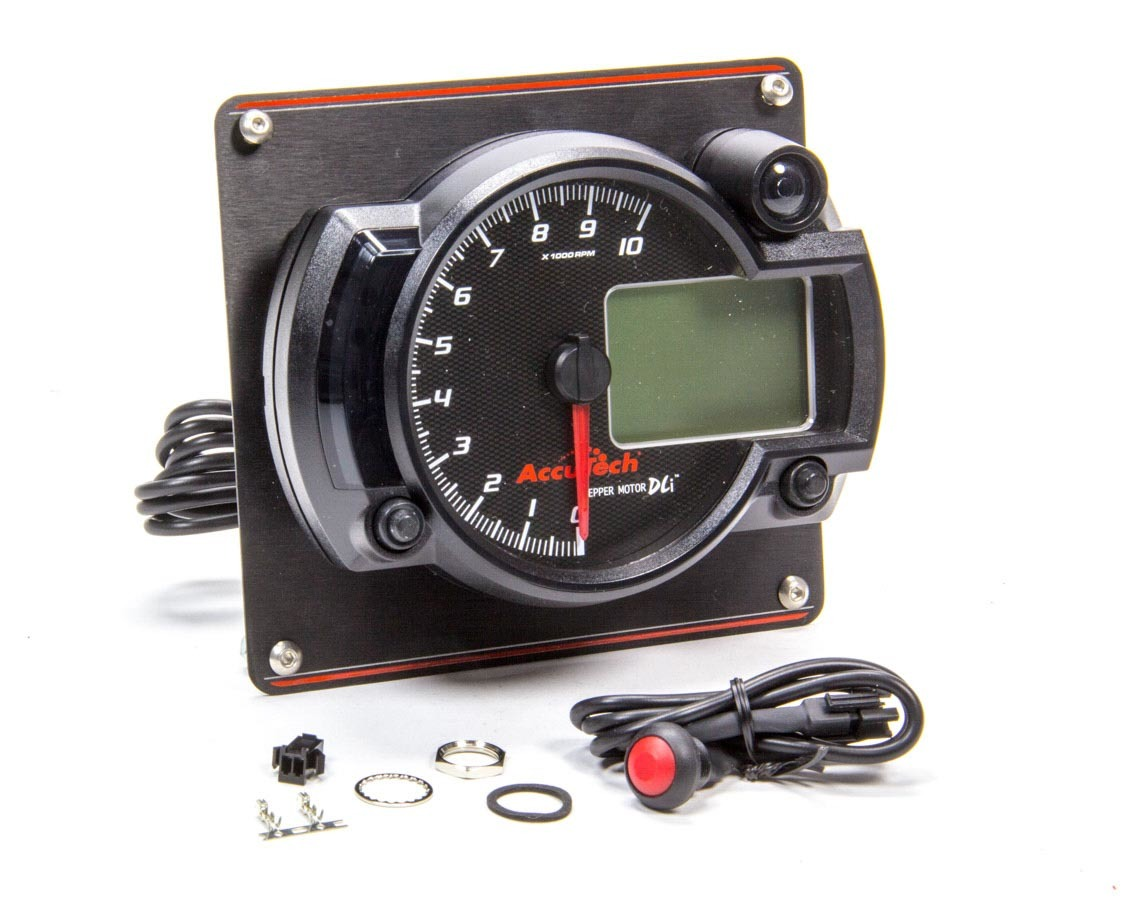Tach 4in Data Logging Blk w/Blk Alum Panel