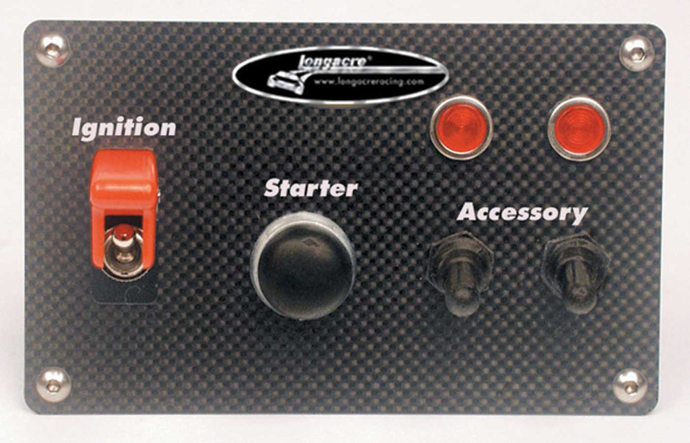Longacre 52-44535 Switch Panel, Dash Mount, 6-1/2 x 3-1/2 in, 2 Toggles / 1 Momentary Button, Indicator Lights, Carbon Fiber, Kit