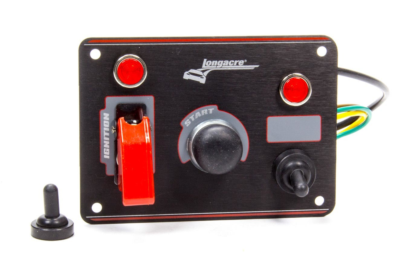 Longacre 52-44866 Switch Panel, Dash Mount, 3-3/8 x 3-5/8 in, 1 Safety Cover Toggle / 1 Toggle / 1 Momentary Button, Indicator Lights, Black Anodized, Each
