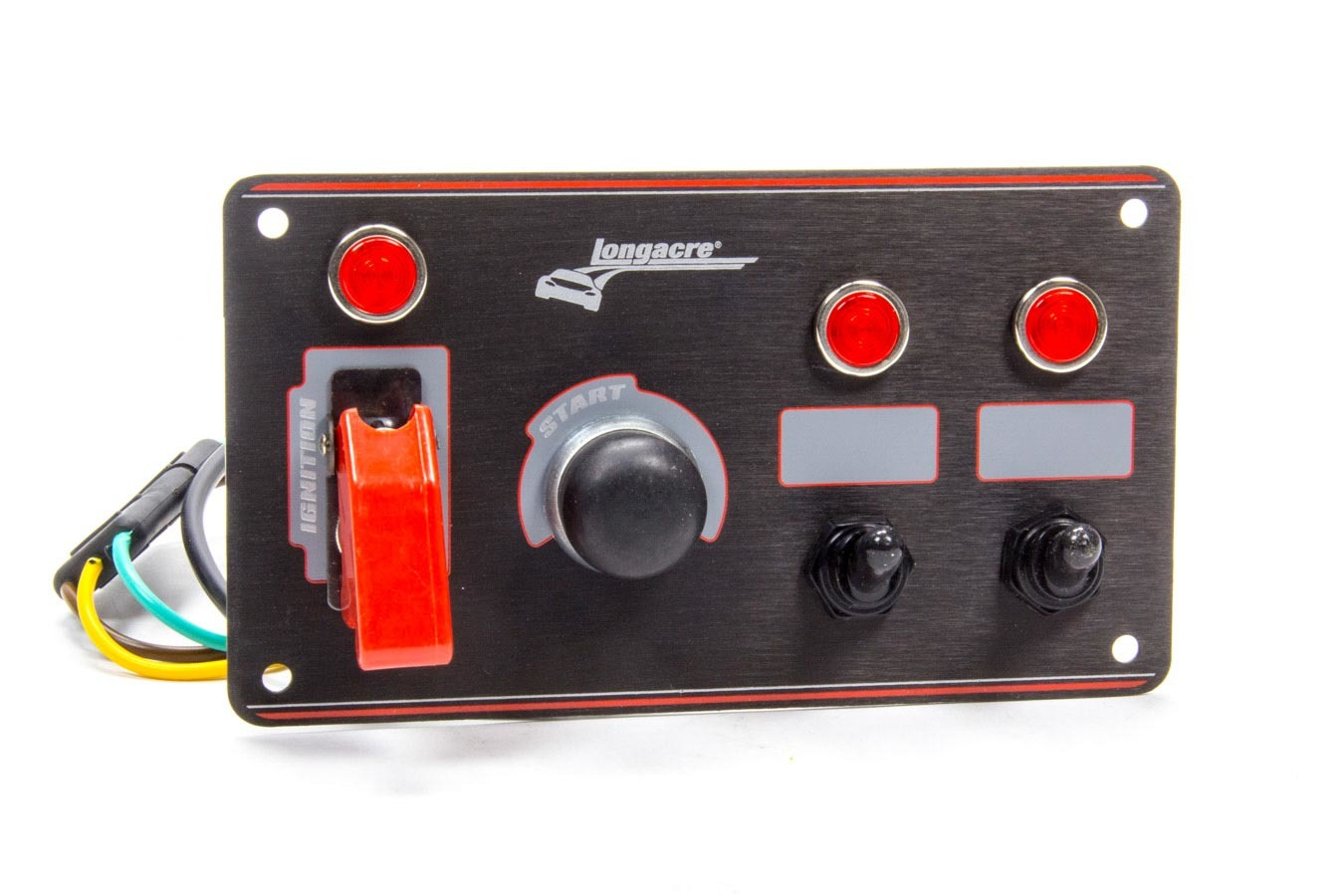 Longacre 52-44867 Switch Panel, Dash Mount, 6-1/2 x 3-5/8 in, 1 Safety Cover Toggle / 2 Toggle / 1 Momentary Button, Indicator Lights, Black Anodized, Each