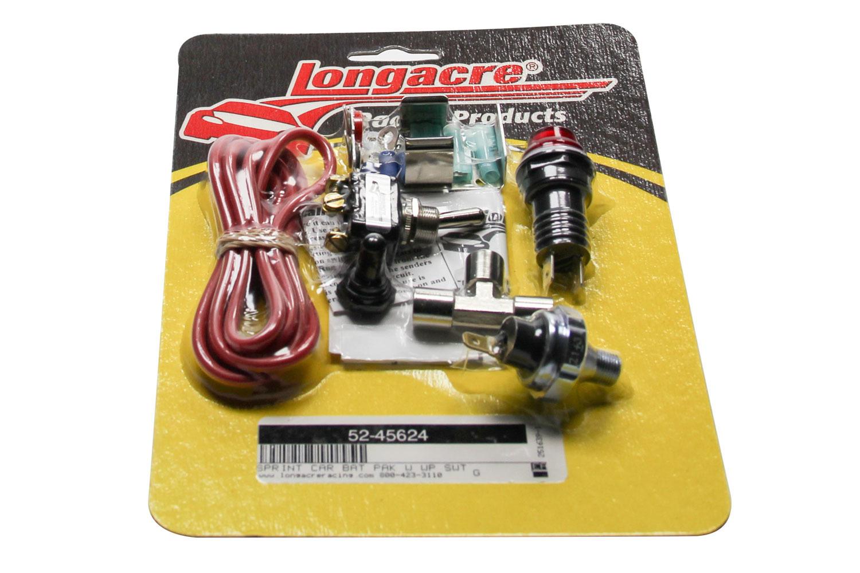 Longacre 52-45624 Sprint Car Battery Pack, 9V Battery Holder, 20 psi Oil Pressure Switch, Warning Light, Mag Kill Switch, Weatherproof Cover, Kit