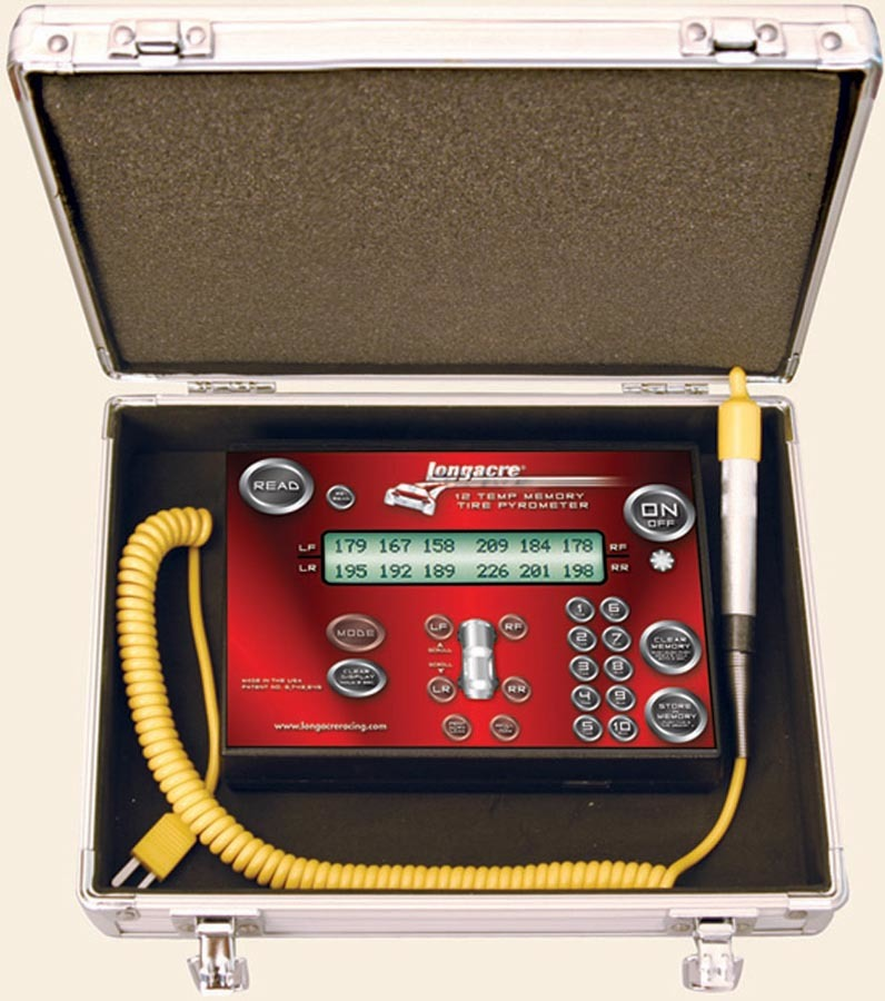 Longacre 52-50682 Pyrometer, Coil Cord Tire Probe, 0-1400 Degrees Fahrenheit, Display 12 Temps at Once, 10 Set Memory, Kit