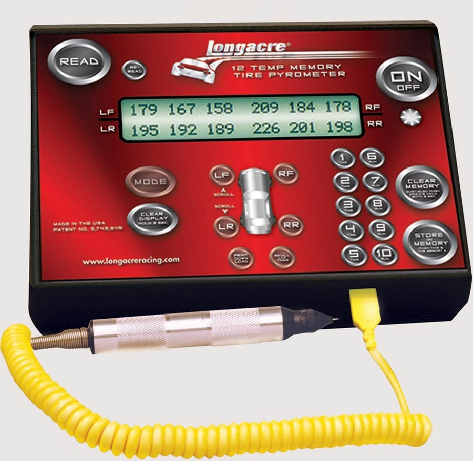 Longacre 52-50690 Pyrometer, Coil Cord Tire Probe, 0-300 Degrees Fahrenheit, Display 12 Temps at Once, 10 Set Memory, Kit