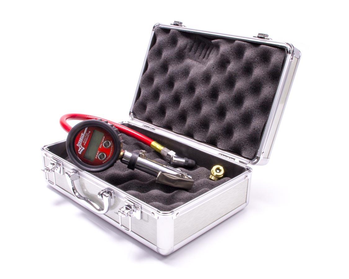 Longacre 52-53008 Tire Pressure Gauge, Quick Fill, 0-60 psi, Digital, 2-1/2 in Diameter, Red Face, 0.1 lb Increments, Silver Case, Each