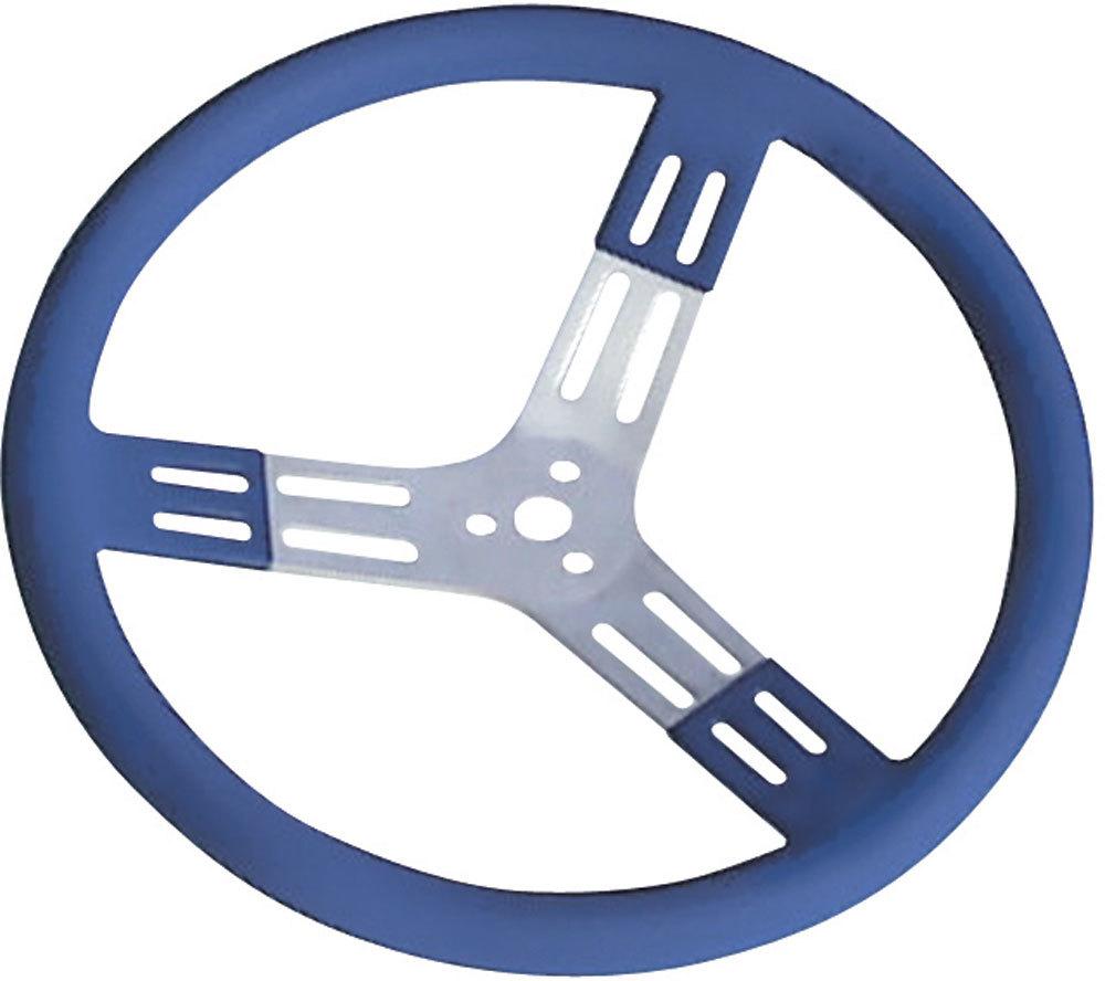 Longacre 52-56803 Steering Wheel, 15 in Diameter, 3 Spoke, 2-3/4 in Dish, Blue Rubberized Smooth Grip, Aluminum, Natural, Each
