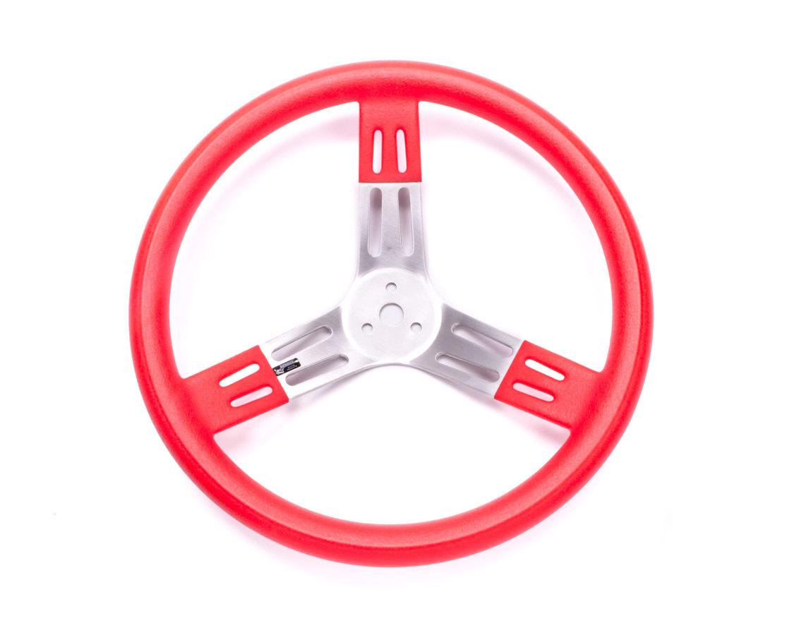 15in Steering Wheel Red Alum Smooth Grip