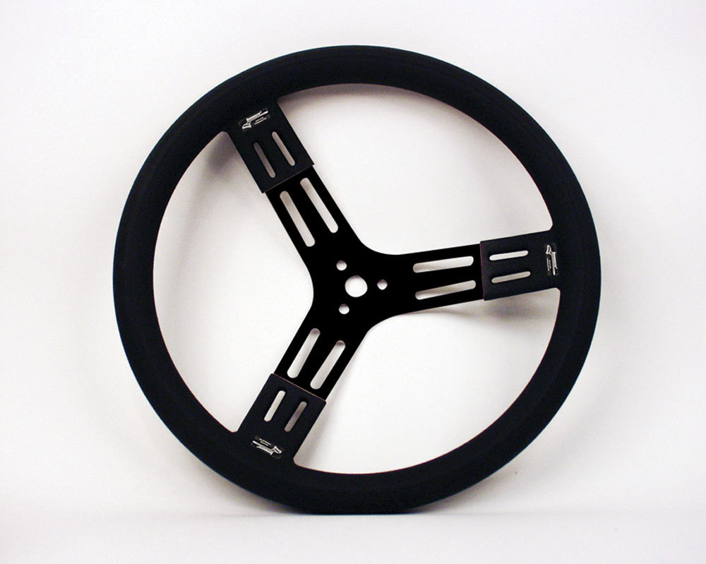 Longacre 52-56809 Steering Wheel, 15 in Diameter, 3 Spoke, 2-3/4 in Dish, Black Rubberized Fat Grip, Aluminum, Black Anodize, Each