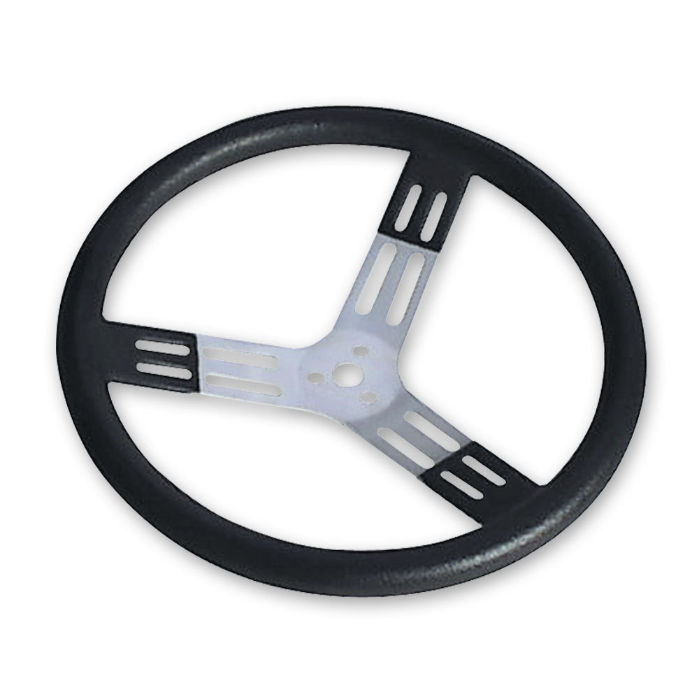 Longacre 52-56825 Steering Wheel, 17 in Diameter, 3 Spoke, 2-3/4 in Dish, Black Polyurethane Bump Grip, Aluminum, Natural, Each