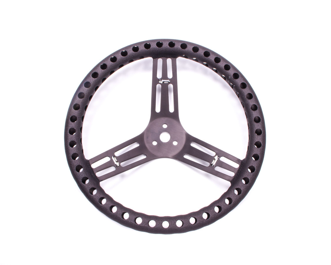Streering Wheel 14in Dished Drilled Black