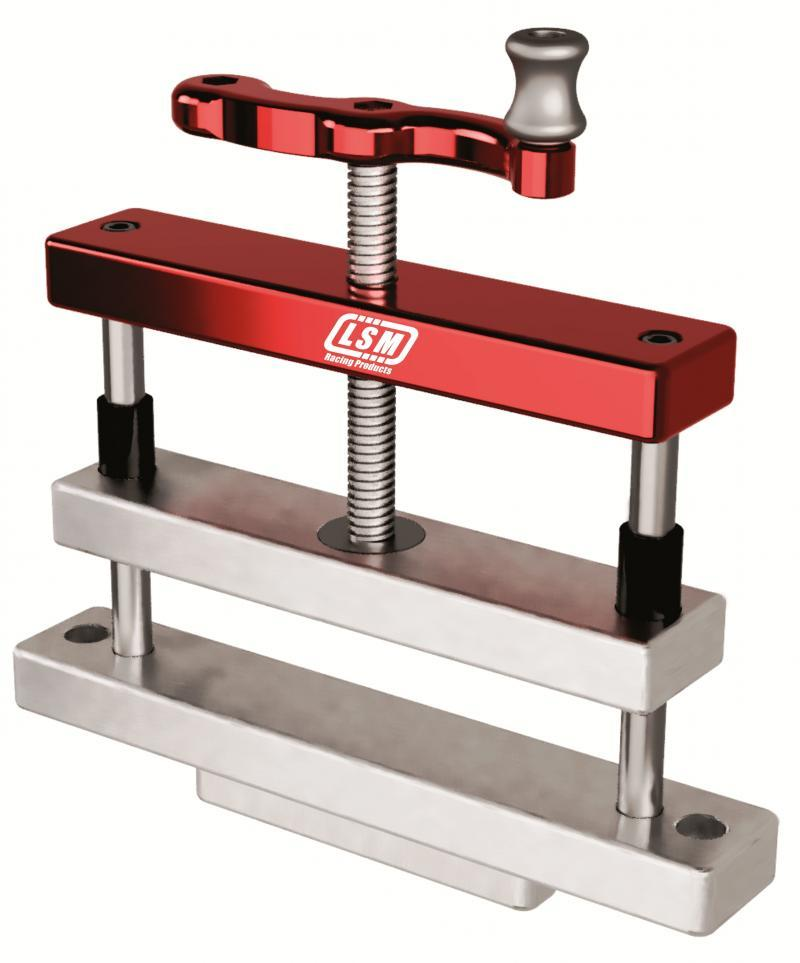 LSM Racing Products RV-100 Connecting Rod Vise, Double Wide, Aluminum, Clear / Red Anodized, Each