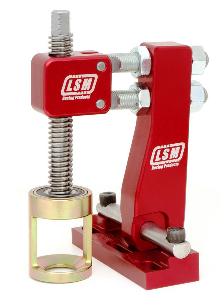 LSM Racing Products SC-150 Valve Spring Compressor, Head-On, Shaft Mount, Aluminum, Red Anodized, Various Applications, Kit