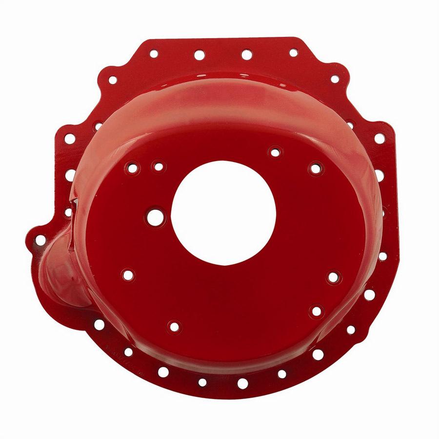 Lakewood 15100 Bellhousing, Block Plate, Hardware Included, SFI 6.1, Steel, Red Powder Coat, Muncie / Saginaw / T5 / T10 / Tremec TKO, Pontiac V8, Kit