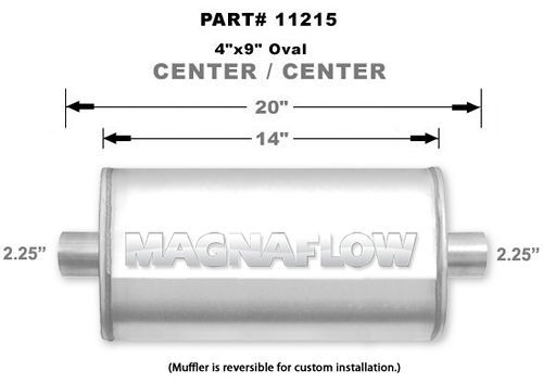 Magnaflow Exhaust 11215 Muffler, 2-1/4 in Center Inlet, 2-1/4 in Center Outlet, 14 x 9 x 4 in Oval Body, 20 in Long, Stainless, Natural, Universal, Each