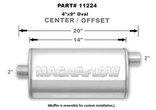 Magnaflow Exhaust 11224 Muffler, 2 in Offset Inlet, 2 in Center Outlet, 14 x 9 x 4 in Oval Body, 20 in Long, Stainless, Natural, Universal, Each