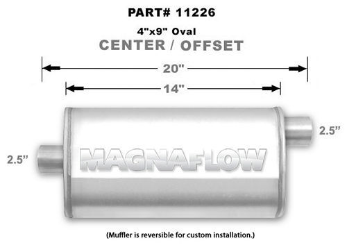 Magnaflow Exhaust 11226 Muffler, 2-1/2 in Offset Inlet, 2-1/2 in Center Outlet, 14 x 9 x 4 in Oval Body, 20 in Long, Stainless, Natural, Universal, Each