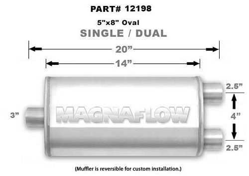 Magnaflow Exhaust 12198 Muffler, 3 in Center Inlet, Dual 2-1/2 Outlets, 14 x 8 x 5 in Oval Body, 20 in Long, Stainless, Natural, Universal, Each