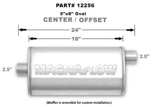 Magnaflow Exhaust 12256 Muffler, 2-1/2 in Offset Inlet, 2-1/2 in Center Outlet, 18 x 8 x 5 in Oval Body, 24 in Long, Stainless, Natural, Universal, Each