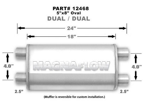 Stainless Muffler 2.5in Dual In / Dual Out