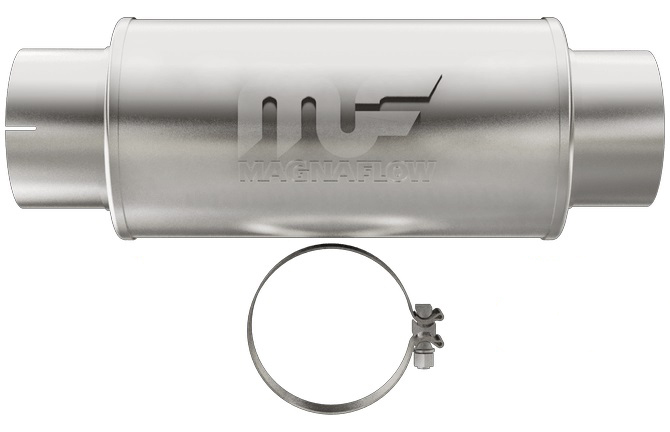 Magnaflow Exhaust 12776 Muffler, 5 in Center Inlet, 5 in Center Outlet, 7 in Diameter, 20 in Long, Stainless, Satin, Universal, Each