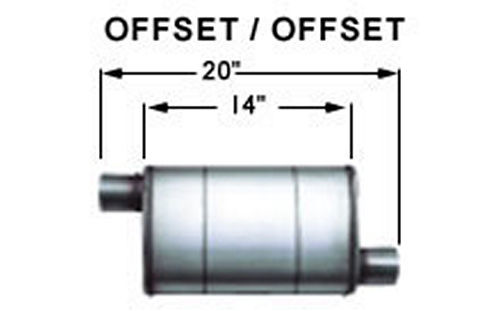 Stainless Muffler 3in Offset In / Out