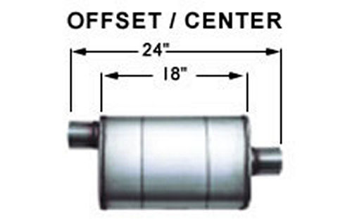 Stainless Muffler 2.5in Center In / Offset Out