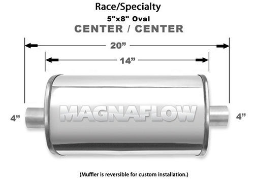 Stainless Race Muffler 4in In/Out