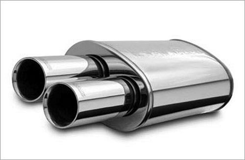 Stainless Muffler 2.25in In / Dual 3in Tips Out