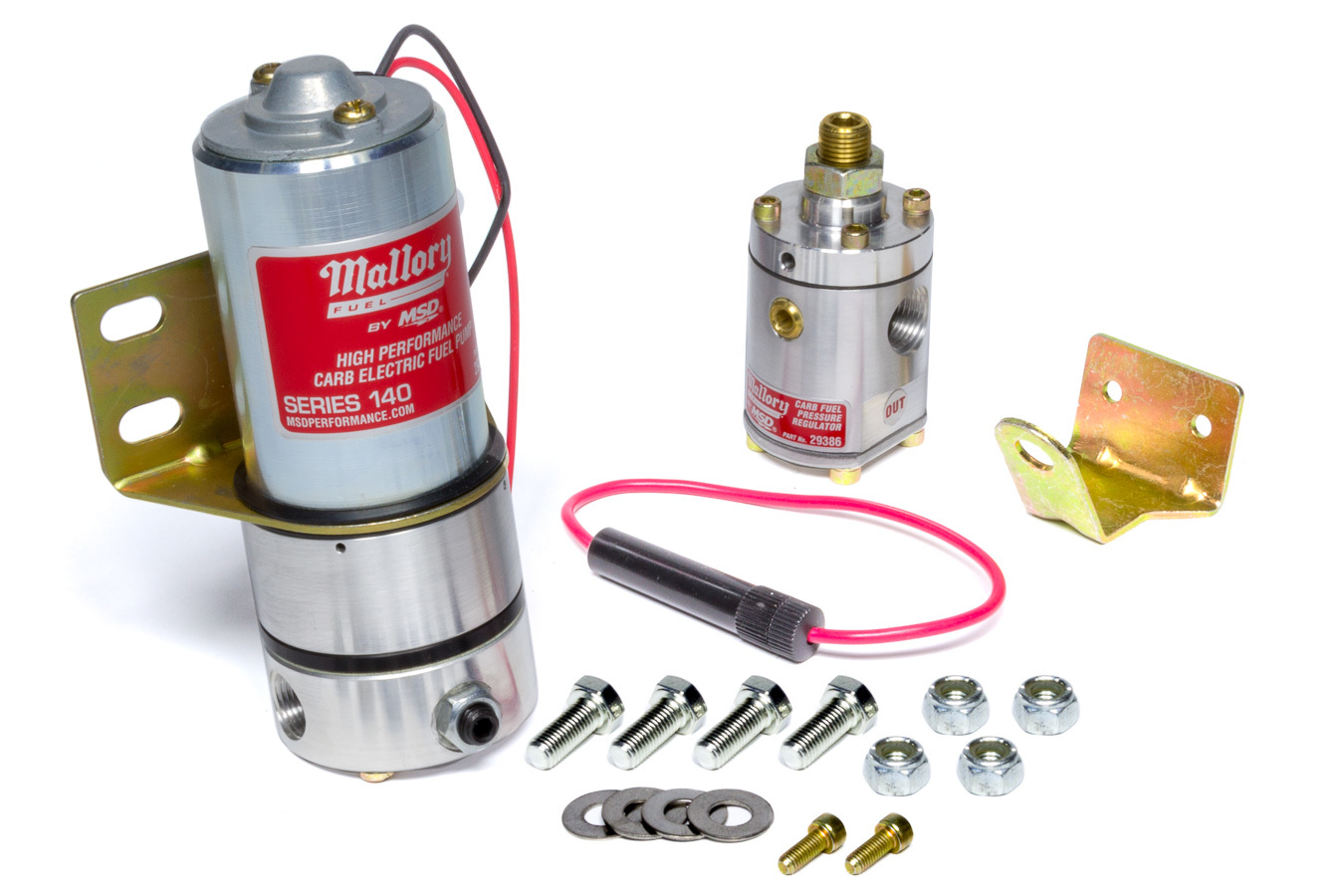 Mallory 29209 Fuel Pump, Comp Pump Series 140, Electric, In-Line, 120 gph at 6 psi, 3/8 in NPT Inlet, 3/8 in NPT Outlet, Non-Return Regulator Included, Gas, Kit