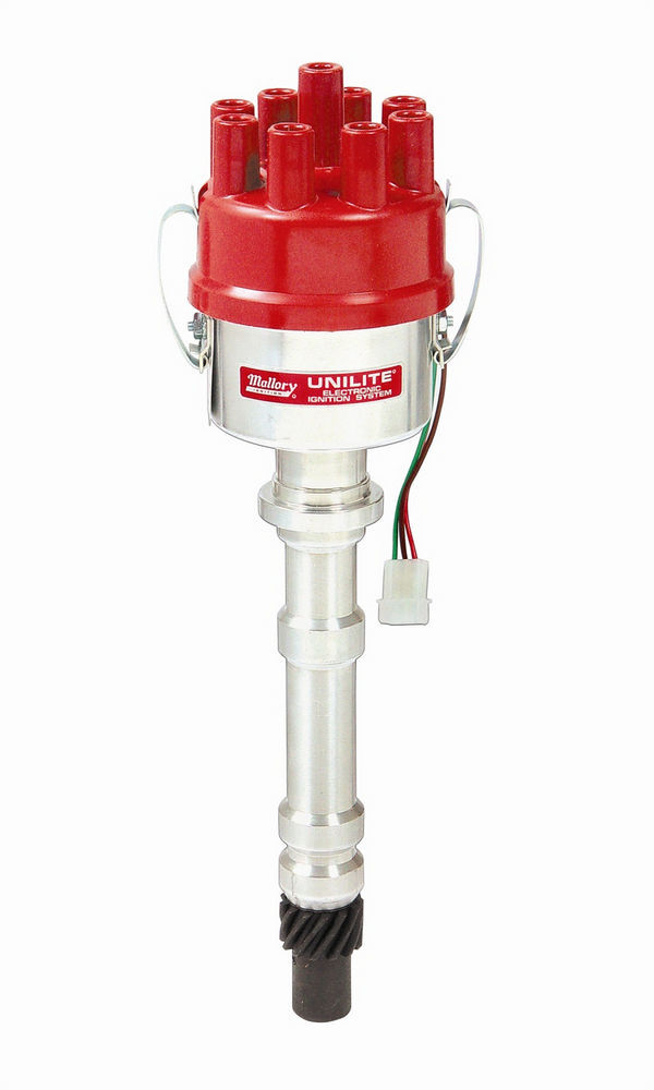 Mallory 3748201 Distributor, 37 Series Unilite, Optical Pickup, Mechanical Advance, Socket Style, R/H Rotation, Red, Chevy V8, Each