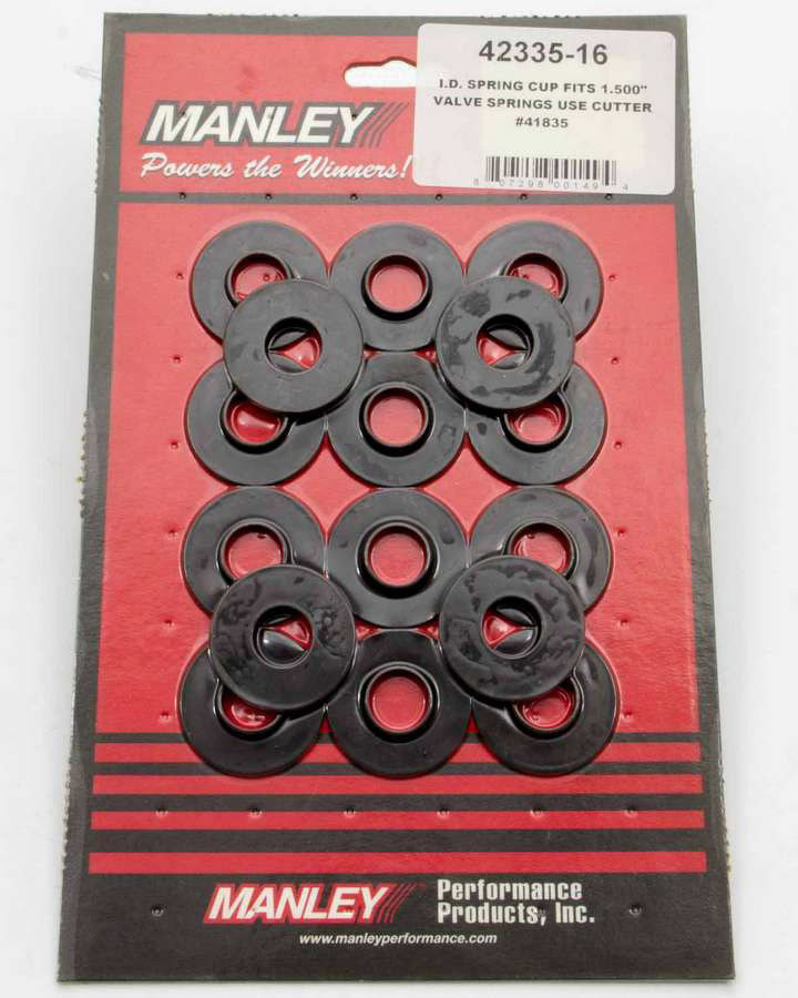 Manley 42117-16 Valve Spring Locator, Inside, 0.035 in Thick, 1.300 in OD, 0.505 in ID, 0.676 in Spring ID, Steel, Black Oxide, Set of 16