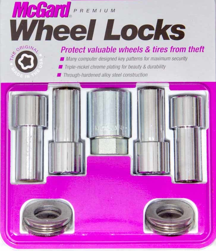 McGard 23181 Wheel Lock, Premium, 1/2-20 in Thread, 1.365 in Shank, Closed End, Key / Washers Included, Steel, Chrome, Set of 4