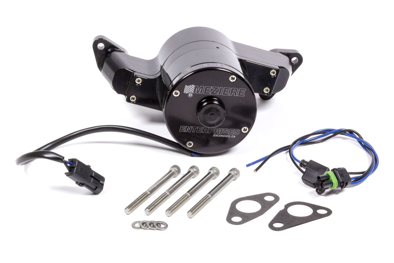 Meziere WP111SHD Water Pump, Electric, 100 Series, 1 in NPT Female Inlet, Gaskets / Hardware / Wiring, Aluminum, Black Anodized, Small Block Ford, Kit
