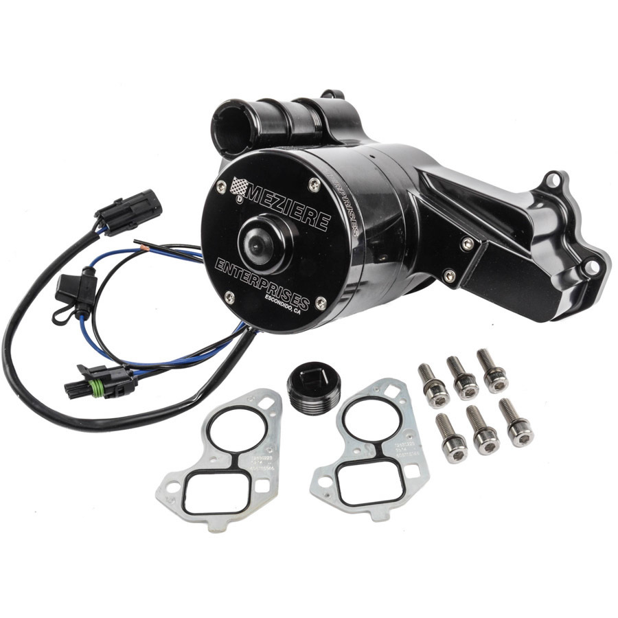 Meziere WP119SHD Water Pump, Electric, 100 Series, 1-1/4 in Hose Barb Inlet, Gaskets / Hardware / Wiring, Aluminum, Black Anodized, GM LS-Series, Kit