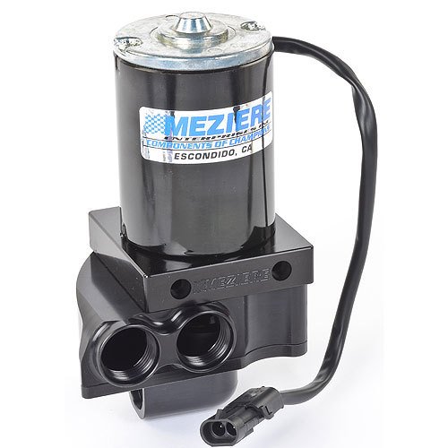 Meziere WP137S Water Pump, Electric, Remote Mount, 12 AN Female Inlet, Dual 12 AN Female Outlet, Aluminum, Black Anodized, Universal, Kit