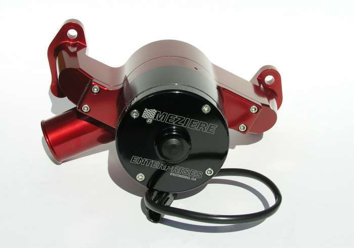 Meziere WP301R Water Pump, Electric, Hi-Flow 300 Series, 1-3/4 in Hose Barb Inlet, Gaskets / Hardware / Wiring, Aluminum, Red Anodized, Small Block Chevy, Kit
