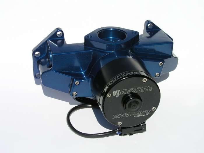 Meziere WP306B Water Pump, Electric, Hi-Flow 300 Series, 20 AN Female O-Ring Inlets, Gaskets / Hardware / Wiring, Aluminum, Blue Anodized, Mopar B / RB-Series / Hemi, Kit