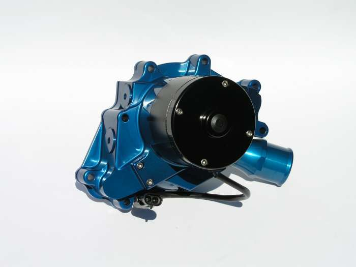 Meziere WP311B Water Pump, Electric, Hi-Flow 300 Series, 1-3/4 in Hose Barb Inlet, Gaskets / Hardware / Wiring, Aluminum, Blue Anodized, Small Block Ford, Kit