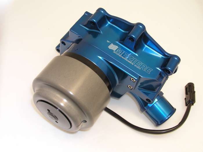 Meziere WP312B Water Pump, Electric, Street Style, 1-3/4 in Hose Barb Inlet, Gaskets / Hardware / Wiring, Aluminum, Blue Anodized, Small Block Ford, Kit