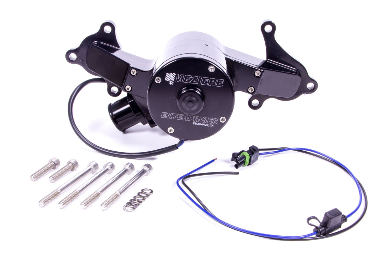 Meziere WP314S Water Pump, Electric, High Flow 300 Series, 1-1/2 in Hose Barb Inlet, Gasket / Hardware / Wiring, Aluminum, Black Anodized, Mopar Gen III Hemi, Kit