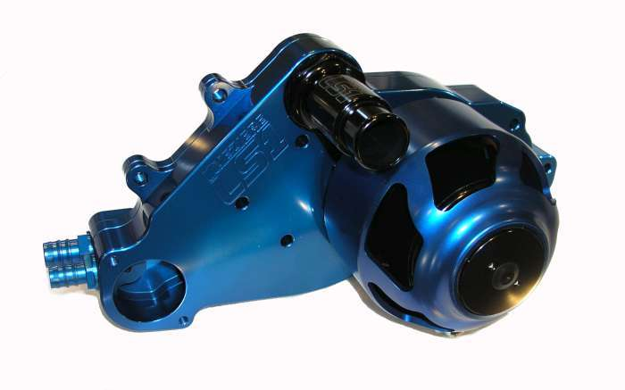 Meziere WP319B Water Pump, Electric, Street Style, 1-1/4 in Hose Barb Outlet, Gaskets / Hardware / Wiring, Aluminum, Blue Anodized, GM LS-Series, Kit