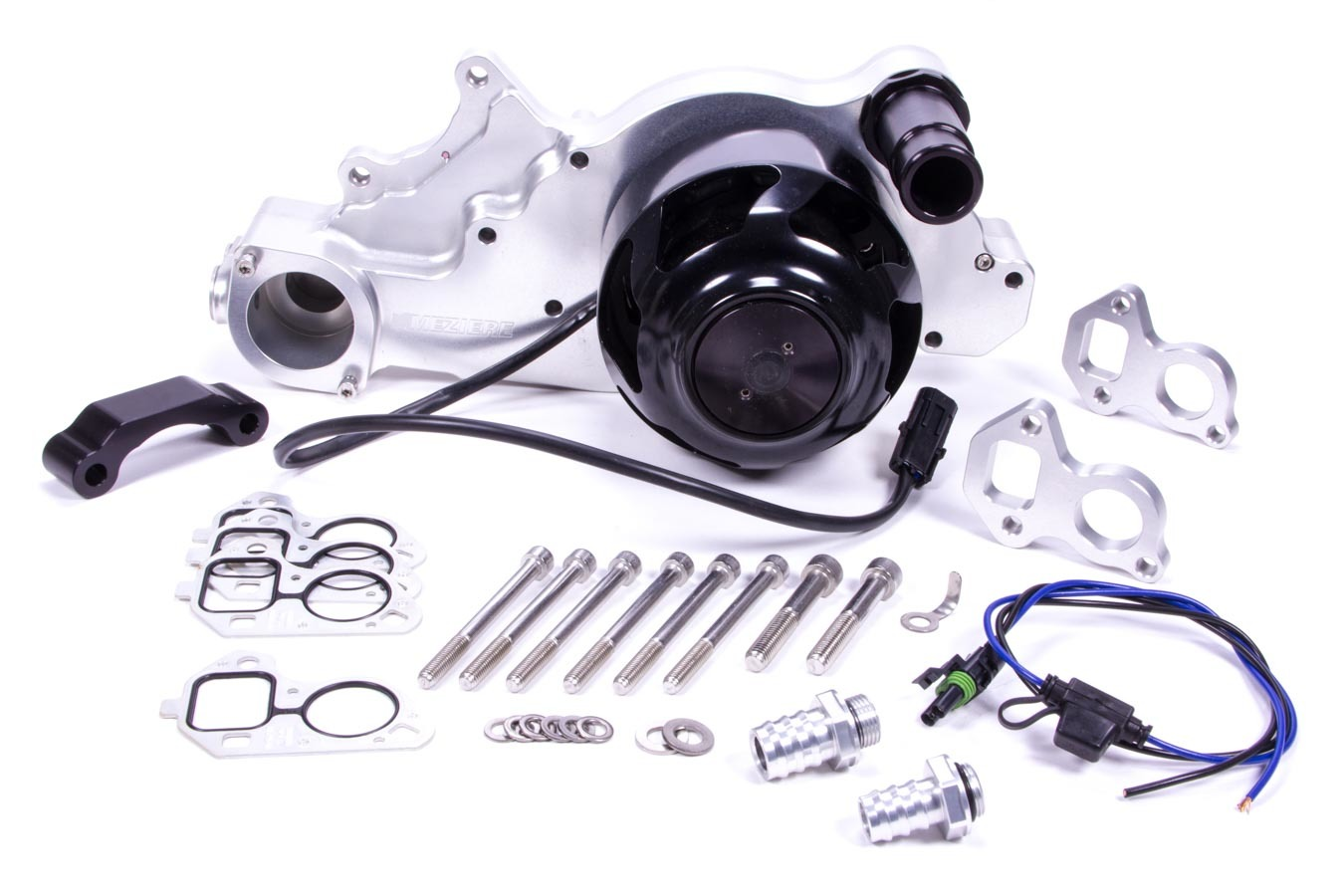 Meziere WP329N Water Pump, Electric, Street Style, 1-1/4 in Hose Barb Outlet, Gaskets / Hardware / Wiring, Aluminum, Natural, LS3, GM LS-Series, Chevy Corvette 2010-13, Kit