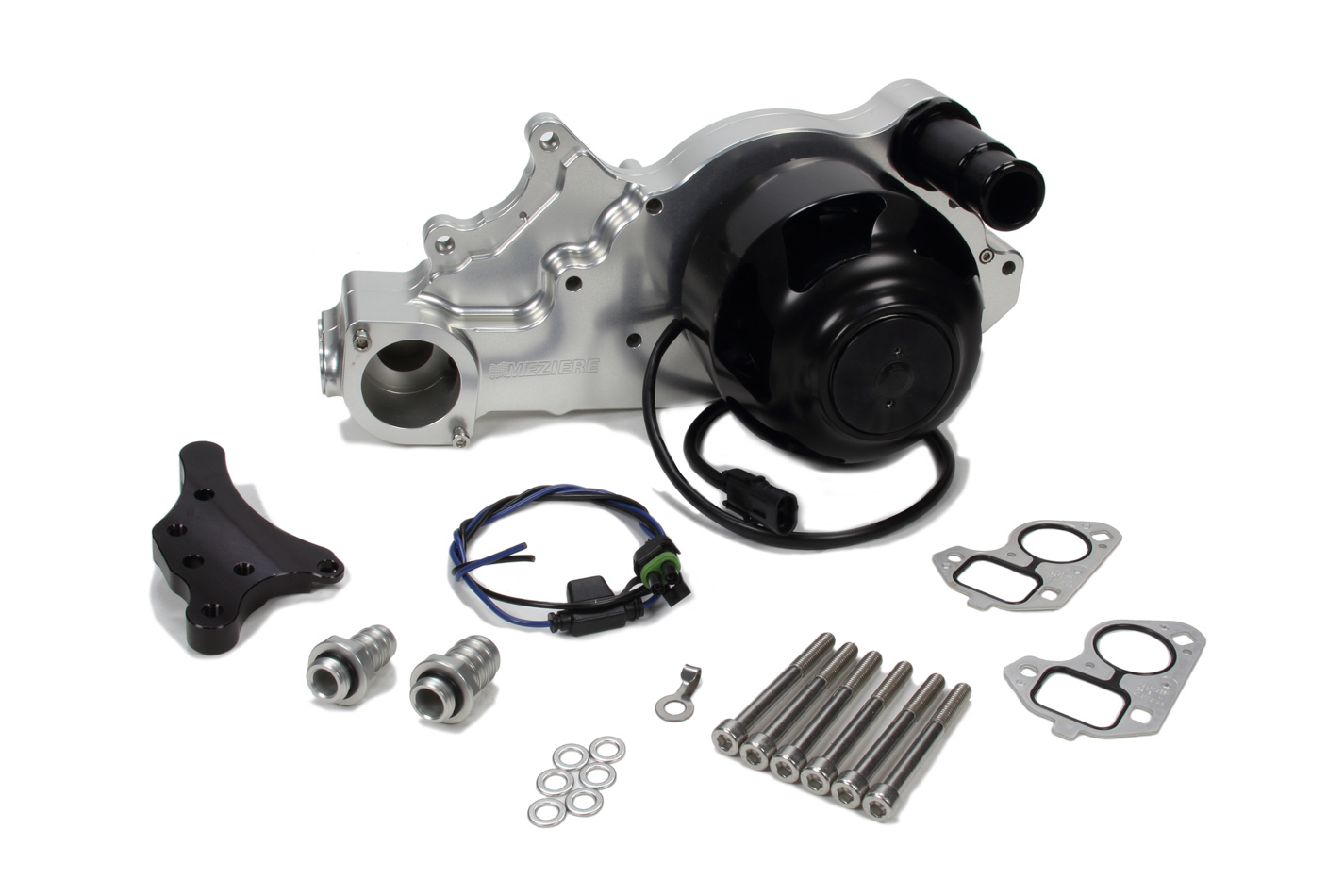 Meziere WP330N Water Pump, Electric, Street Style, 1-1/4 in Hose Barb Outlet, Gaskets / Hardware / Wiring Included, Aluminum, Natural, LS3, GM LS-Series, Chevy Corvette 2010-13, Kit