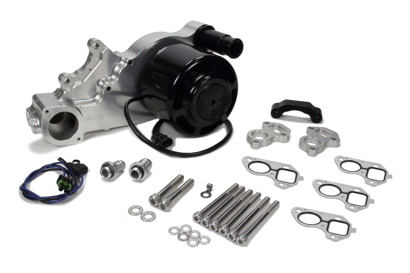 Meziere WP332N Water Pump, Electric, Street Style, 1-1/4 in Hose Barb Outlet, Gaskets / Hardware / Wiring Included, Aluminum, Natural, Supercharged, GM LS-Series, COPO, Chevy Camaro 2013-19, Kit
