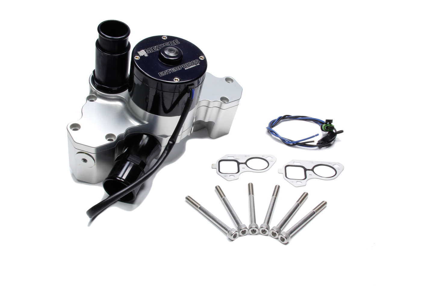 Meziere WP333N Water Pump, Electric, 1-3/4 in Hose Barb Inlet, Gaskets / Hardware / Wiring, Aluminum, Natural, GM LS-Series, Kit