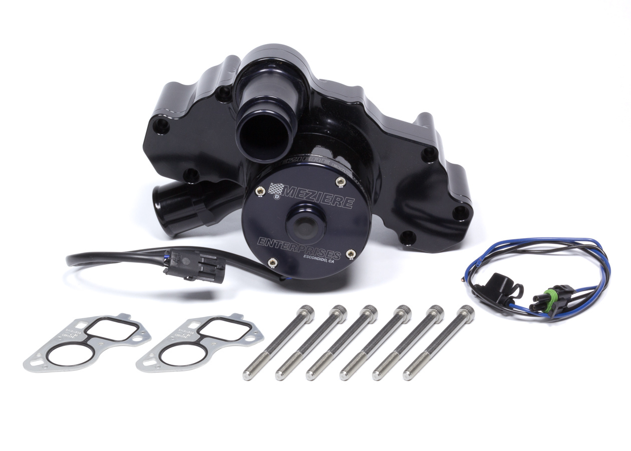 Meziere WP333S Water Pump, Electric, 1-3/4 in Hose Barb Inlet, Gaskets / Hardware / Wiring, Aluminum, Black Anodized, GM LS-Series, Kit