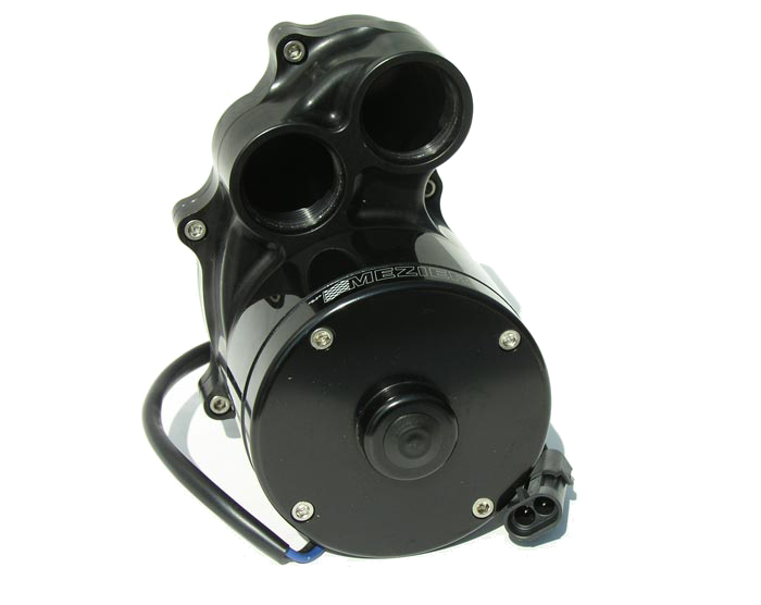 Meziere WP387S Water Pump, Electric, Hi-Flow 300 Series, Dual 16 AN Female O-Ring Outlets, 5-1/5 in Height, Aluminum, Black Anodized, Universal, Kit