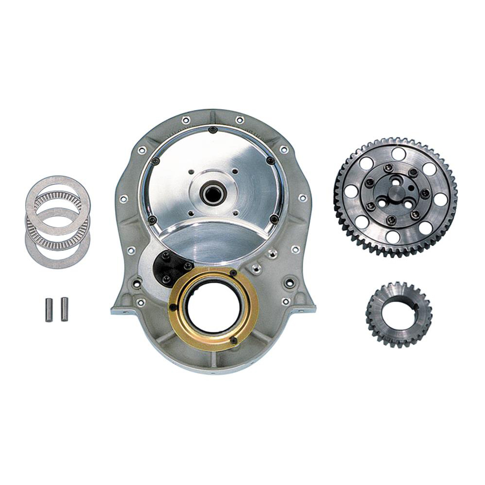 Milodon 12700 Timing Gear Drive, Injected / Blown, 3 Gear Drive, Fixed Idler Gear, Billet Steel Gears, Aluminum Timing Cover Included, Big Block Chevy, Kit