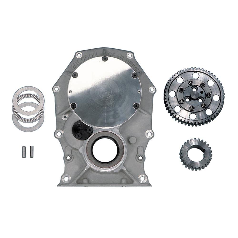 Milodon 13000 Timing Gear Drive, 3 Gear Drive, Fixed Idler Gear, Billet Steel Gears, Aluminum Timing Cover Included, 3-Bolt Camshaft, Mopar B / RB-Series / Hemi, Kit