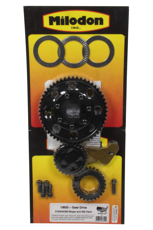 Milodon 13600 Timing Gear Drive, 3 Gear Drive, Fixed Idler Gear, Billet Steel Gears, Small Block Mopar, Kit